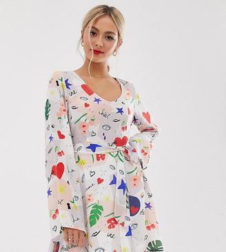 Lily & Lionel Exclusive micro mini dress in daydream print-Multi