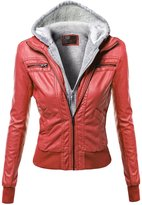 Xpril Hoodie Zip Up Biker Sherpa Lining Faux Leather Jackets Red Size S
