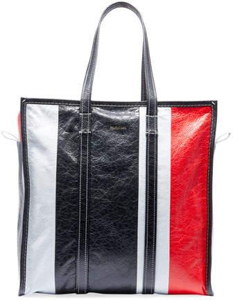 Balenciaga Men's Bazar Medium Striped Leather Shopper Tote Bag