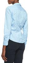 Frank & Eileen Barry Pinstripe Button-Down Shirt, Light Blue/White