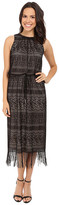 London Times Geo Stripe Fringe Blouson Maxi Dress