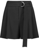 Michael Kors Belted Pleated Wool-Crepe Shorts