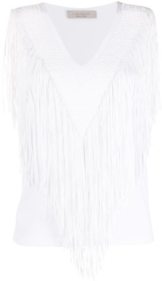 D-Exterior Fringed Knit Top