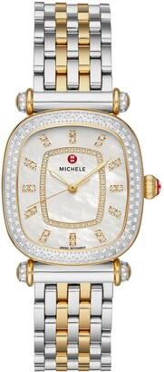 Michele Caber Isle Diamond Dial Diamond Two-Tone Watch Head & Bracelet, 32mm