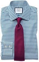 Charles Tyrwhitt Classic Fit Non-Iron Gingham Teal Cotton Dress Shirt Single Cuff Size 15.5/33