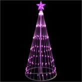 Asstd National Brand 4' Pink LED Light Show Cone Christmas Tree LightedYard Art