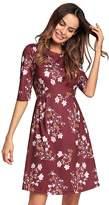 Kemosen Women's 3/4 Sleeve High-Waist Floral Printed T-Shirt A-Line Tunic Dress