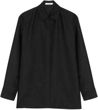 The Row Big Sisea Black Wool And Silk-blend Shirt