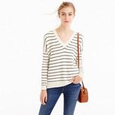 J.Crew Striped V-neck sweater in cotton-merino wool