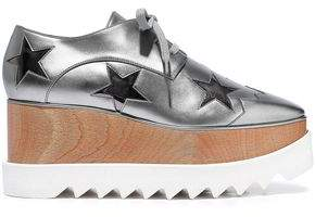 Stella McCartney Elyse Cutout Metallic Faux Leather Platform Brogues