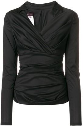 Talbot Runhof draped V-neck blouse