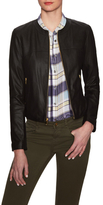 Via Spiga Front Zip Collarless Leather Jacket