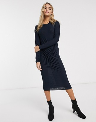 JDY Nola long sleeve ruched midi bodycon dress