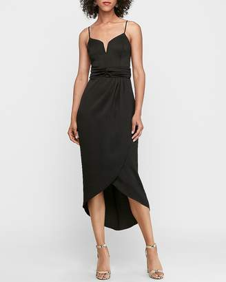 Express V-Wire Satin Hi-Lo Maxi Dress