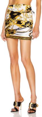 Versace Brocade Mini Skirt in White & Yellow   FWRD