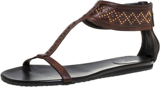 Gucci Dark Brown Leather Studded T Strap Flat Sandals Size 42