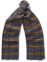 Loro Piana Checked Cashmere And Silk-blend Scarf - Navy