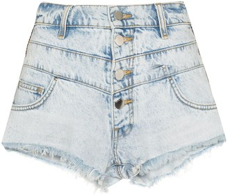 Amiri Embroidered Stripe Denim Shorts
