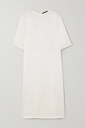 Haider Ackermann Pleated Silk-satin Midi Dress - Ivory