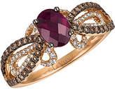LeVian Le Vian Chocolatier 14K Rose Gold 1.22 Ct. Tw. White & Brown Diamond & Rhodolite Ring