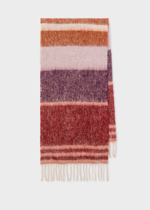 Paul Smith Women's Burgundy Stripe Alpaca-Blend Scarf