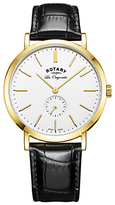 Rotary Gs90190/02 Les Originales Leather Strap Watch, Black/white