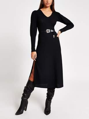 River Island Puff Sleeve Jersey Midi Dress -Black