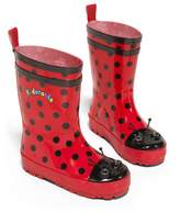 Kidorable Ladybug Rainboots, & Black Dots, Toddler Little Kids Size 10 M US, Natural Rubber Boots with Cotton Lining, Pull On Heel Tab & Non-Slip Sole