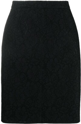 No.21 Contrast-Zip Jacquard-Effect Skirt