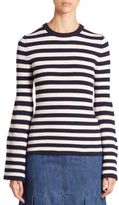 Michael Kors Striped Cashmere Bell-Sleeve Sweater
