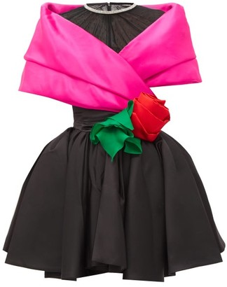 Richard Quinn Crystal And Mesh Rose-trim Pleat-front Satin Dress - Black Multi