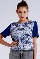 Girls On Film Blue and White Geo Mineral Print Top