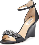 Badgley Mischka Clear Crystal Leather Dressy Sandal, Black