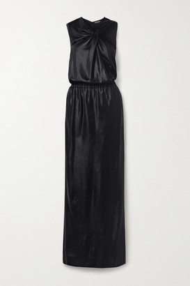 Tom Ford Cutout Draped Stretch Satin-pique Gown - Black
