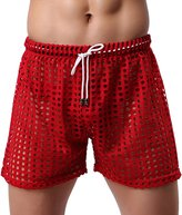 Panegy Mens Openwork Boxer Hollow Drawstring Lounge Underwear Shorts Size L