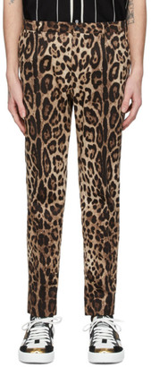 Dolce & Gabbana Brown Leopard Print Trousers