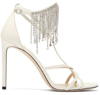 Jimmy Choo Bijou 100 Crystal-embellished Leather Sandals - Cream