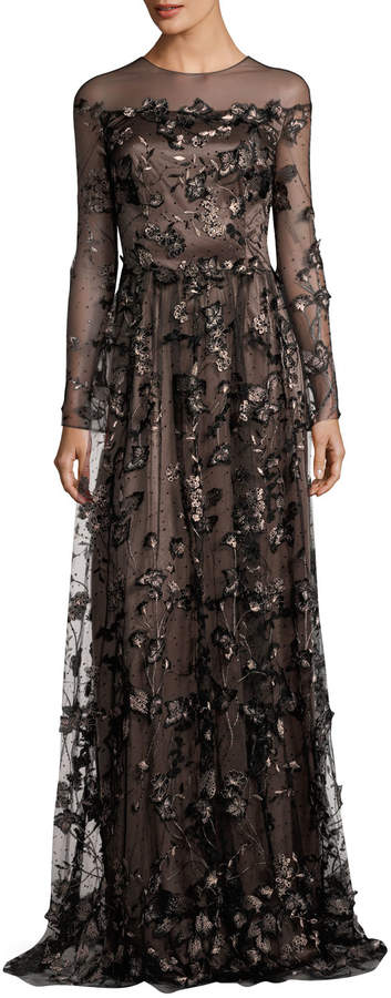 David Meister Long-Sleeve Floral Illusion Gown