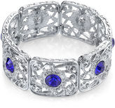 JCPenney 1928 Jewelry Blue Stone Silver-Tone Filigree Stretch Bracelet