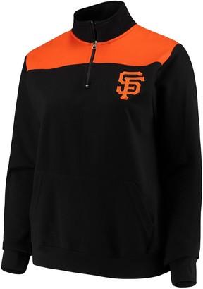Majestic Women's Black San Francisco Giants Plus Size Sequin Wordmark Quarter-Zip Pullover Jacket