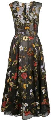 Oscar de la Renta sheer floral embroidered dress