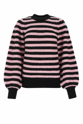 Ganni Striped Puff-Sleeve Jumper