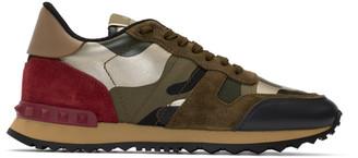 Valentino Green and Red Garavani Camo Rockrunner Sneakers