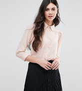 Alter Tall Button Front Blouse With Scallop Detail
