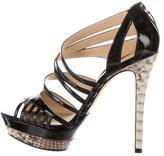 Alexandre Birman Python-Trimmed Platform Sandals