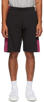 adidas Black and Pink 3D Trefoil 3-Stripe Sweat Shorts