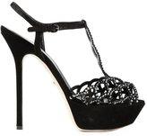Sergio Rossi embellished t-bar sandals - women - Suede - 37.5