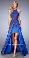 La Femme Taffeta Ombre Halter Prom Dress