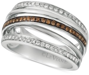 LeVian Le Vian Chocolatier Diamond Multi-Band Crisscross Ring (3/8 ct. t.w.) in 14k White Gold