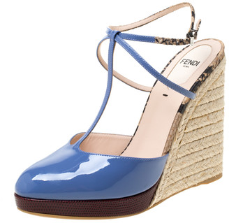 Fendi Lavander Patent Leather And Embossed Snakeskin Leather Elodie Espadrille Platform T Strap Sandals Size 38